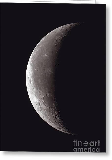 Lunar Crescent Greeting Cards - Waning Thin Crescent Moon, 2012 Greeting Card by John Chumack