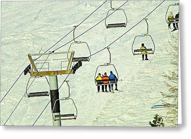Skiing Art Prints Greeting Cards - Wanna Lift Greeting Card by Wendy McKennon