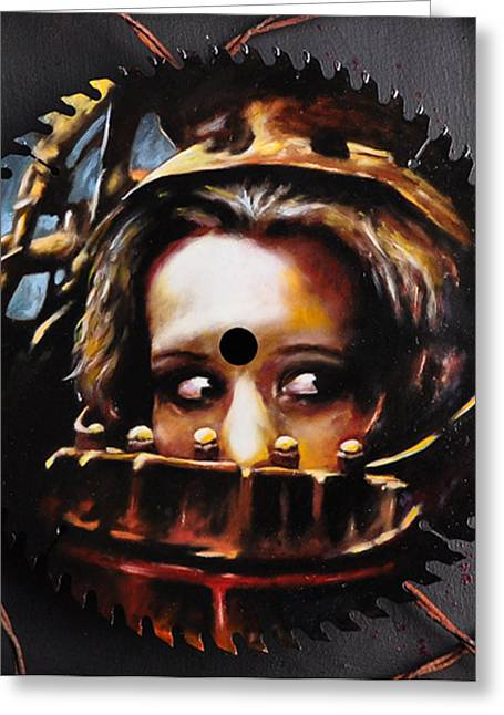Saw Mixed Media Greeting Cards - Wanna play a game? Greeting Card by Chad Chase