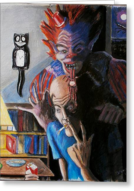 Scary Clown Greeting Cards - Wanna Smoke Greeting Card by Chris Benice