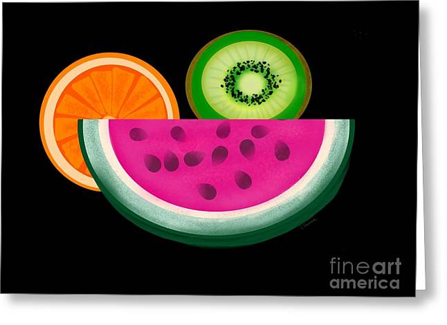 Watermelon Greeting Cards - Want A Slice? Greeting Card by Christine Fournier