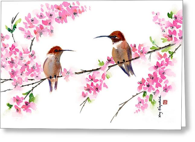 Cherry Blossoms Paintings Greeting Cards - Want to be Friends? Greeting Card by Amy Kirkpatrick