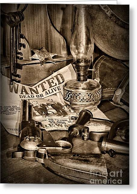 High Noon Greeting Cards - Wanted Dead or Alive Greeting Card by Paul Ward