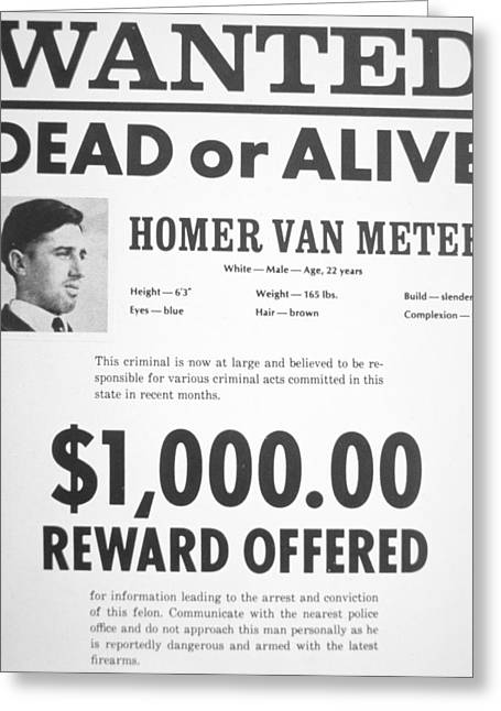 Most Greeting Cards - Wanted poster for Homer van Meter Greeting Card by American School