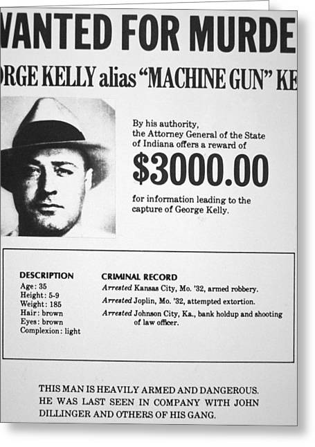 Machine Paintings Greeting Cards - Wanted Poster for Machine Gun Kelly Greeting Card by American School