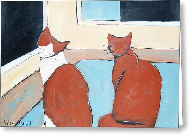 Pet Therapy Greeting Cards - Wanting Out Greeting Card by Allison  Fauchier
