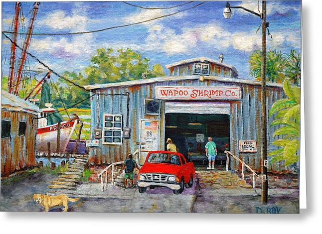 Tin Roof Paintings Greeting Cards - Wapoo Shrimp Company Greeting Card by Dwain Ray