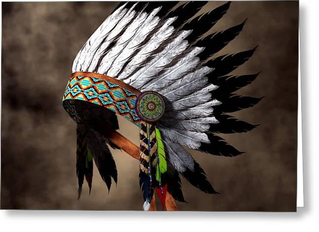 Spirit Guides Greeting Cards - War Bonnet Greeting Card by Daniel Eskridge
