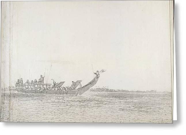 War Canoe Of Tahiti Greeting Card by British Library