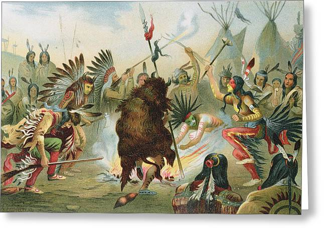 Tribe Greeting Cards - War Dance Of The Sioux, From The History Of Mankind By Prof. Friedrich Ratzel, Pub. In 1904 Litho Greeting Card by Rudolf Cronau