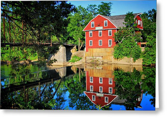 Grist Mill Greeting Cards - War Eagle Mill and Bridge - Arkansas Greeting Card by Gregory Ballos