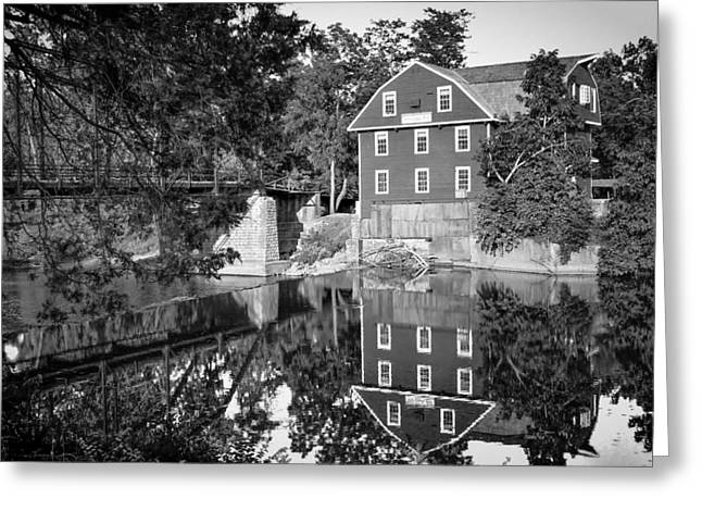 Grist Mill Greeting Cards - War Eagle Mill and Bridge Black and White Greeting Card by Gregory Ballos
