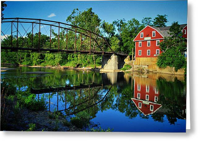 Grist Mill Greeting Cards - War Eagle Mill and Bridge Greeting Card by Gregory Ballos