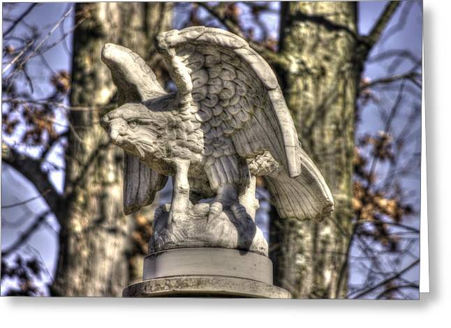 Pitzer Woods Greeting Cards - War Eagles - Vermont Company F 1st U. S. Sharpshooters-A1 Pitzer Woods Gettysburg Greeting Card by Michael Mazaika