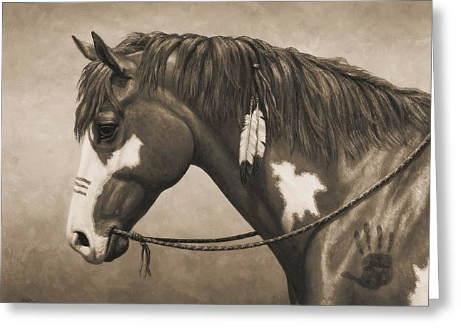 Equine Photo Greeting Cards - War Horse Aged Photo FX Greeting Card by Crista Forest