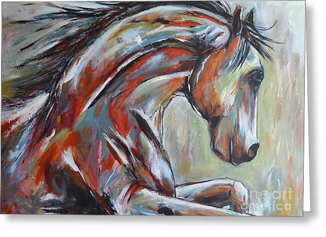 Wild Horses Mixed Media Greeting Cards - War Horse Greeting Card by Cher Devereaux