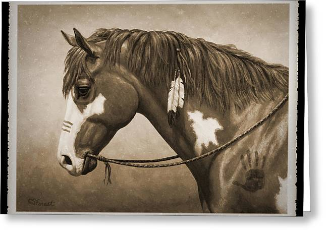 Wild Horse Greeting Cards - War Horse Old Photo FX Greeting Card by Crista Forest