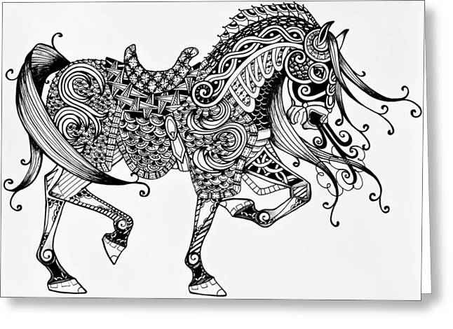 Horse Images Greeting Cards - War Horse - Zentangle Greeting Card by Jani Freimann