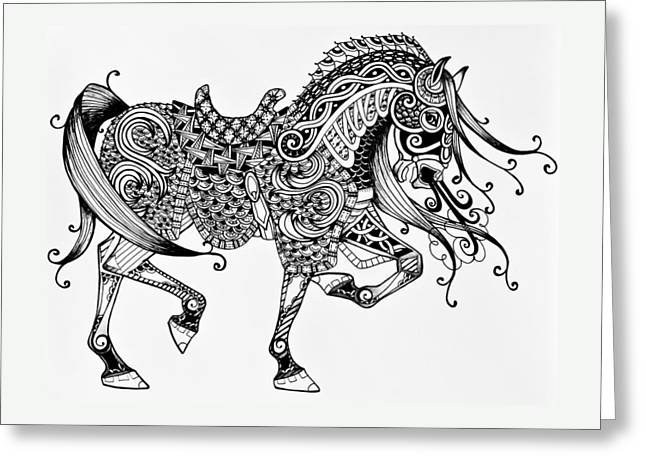 Knight In Shining Armor Greeting Cards - War Horse - Zentangle Greeting Card by Jani Freimann