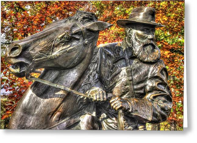 Pitzer Woods Greeting Cards - War Horses - Lieutenant General James Longstreet-A1 Commanding First Corps Autumn Gettysburg Greeting Card by Michael Mazaika