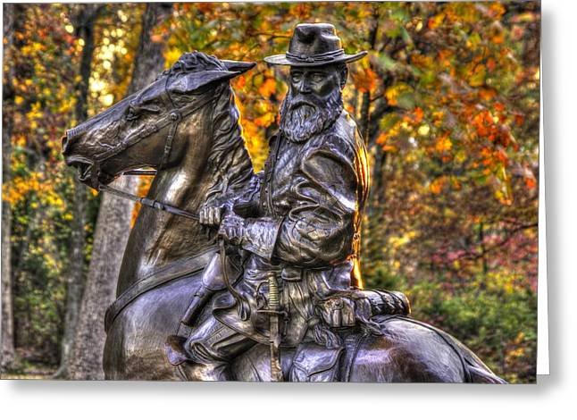Pitzer Woods Greeting Cards - War Horses - Lieutenant General James Longstreet Commanding First Corps Gettysburg Greeting Card by Michael Mazaika