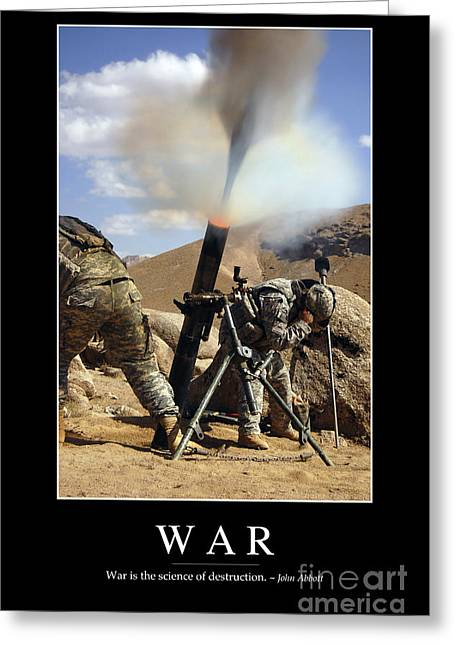Zabul Greeting Cards - War Inspirational Quote Greeting Card by Stocktrek Images