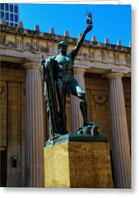 Architecture Of Nashville Greeting Cards - War Memorial Statue Youth In Nashville Greeting Card by Dan Sproul