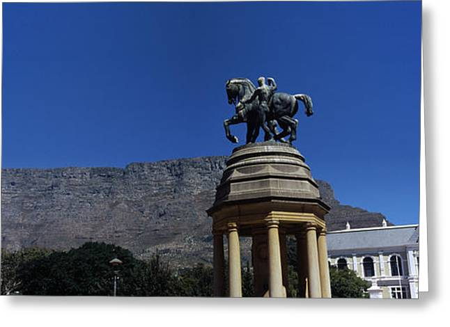 Cape Town Greeting Cards - War Memorial With Table Mountain Greeting Card by Panoramic Images