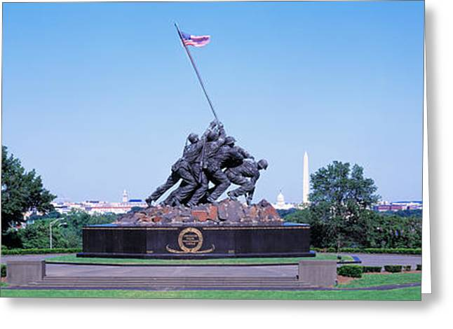 Flag Of Usa Greeting Cards - War Memorial With Washington Monument Greeting Card by Panoramic Images