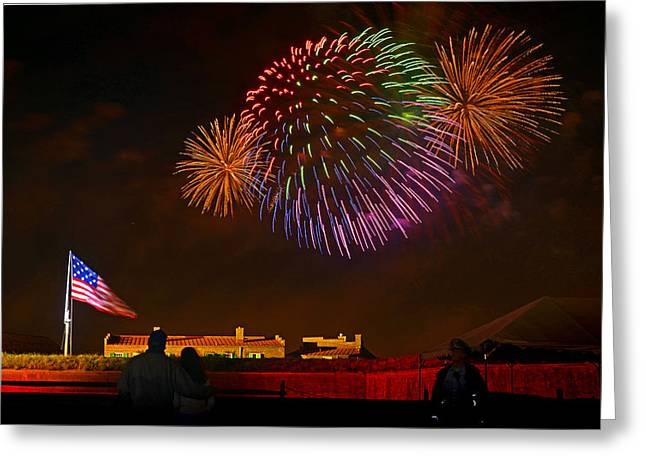 In 1812 Greeting Cards - War of 1812 - Fireworks Bursting in Air 4 Greeting Card by Dom J Manalo