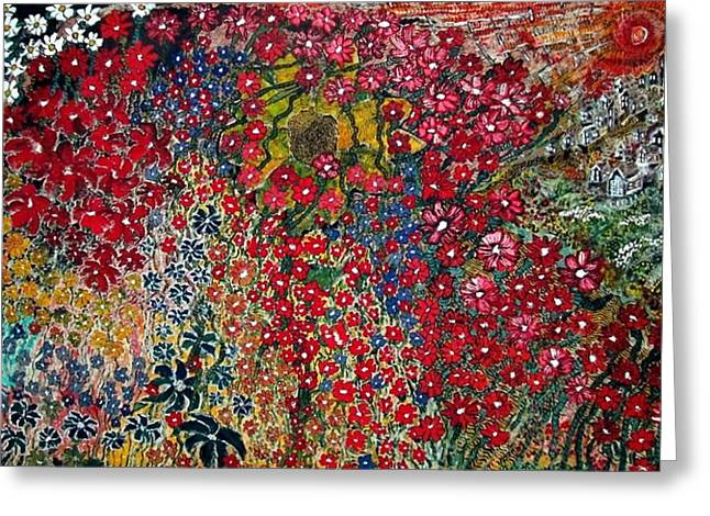 Acylic Painting Greeting Cards - War of Flowers Greeting Card by Matthew  James