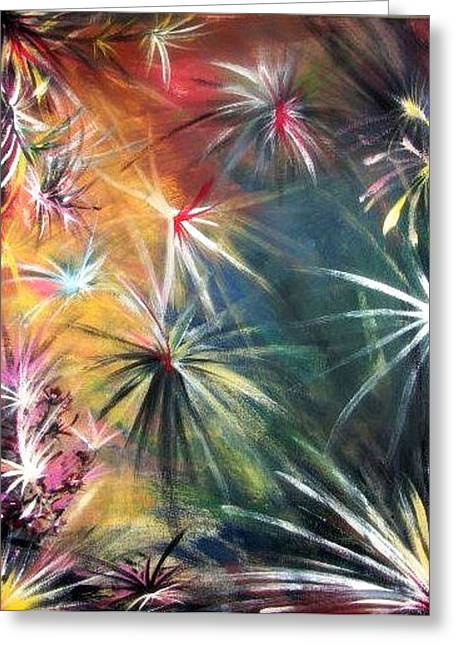Colorful Abstract Tapestries - Textiles Greeting Cards - War of the Seasons Greeting Card by Susanne Little