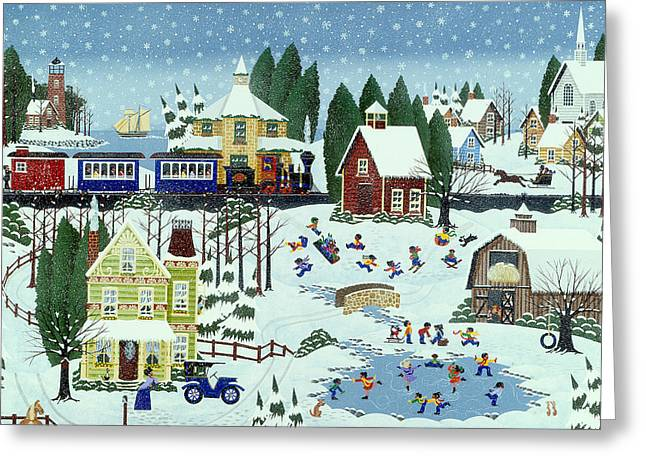 Ice-skating Greeting Cards - War of the Whirls Greeting Card by Merry  Kohn Buvia