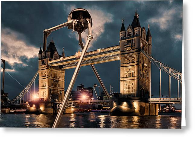 Dramatic Digital Greeting Cards - War of the Worlds London Greeting Card by Peter Chilelli