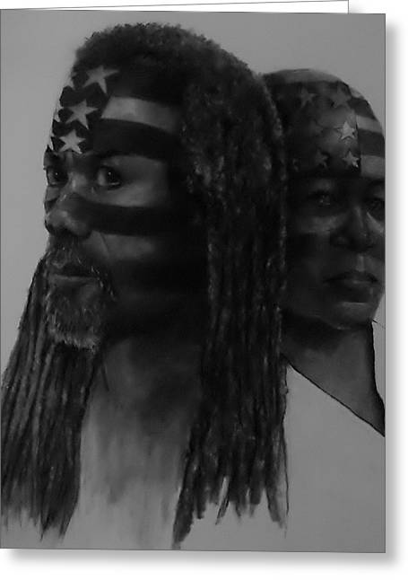 African-american Drawings Greeting Cards - War Paint Greeting Card by Michael Pendergrass
