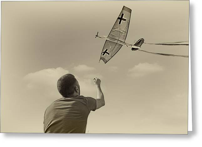 Kites Mixed Media Greeting Cards - War Plane Play Greeting Card by Steven  Michael