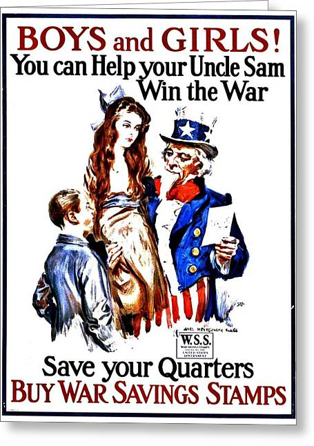 Recruit Greeting Cards - War Poster - WW1 - Help Uncle Sam Greeting Card by Benjamin Yeager