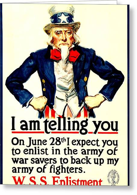 Recruit Greeting Cards - War Poster - WW1 - Uncle Sam Savings Greeting Card by Benjamin Yeager