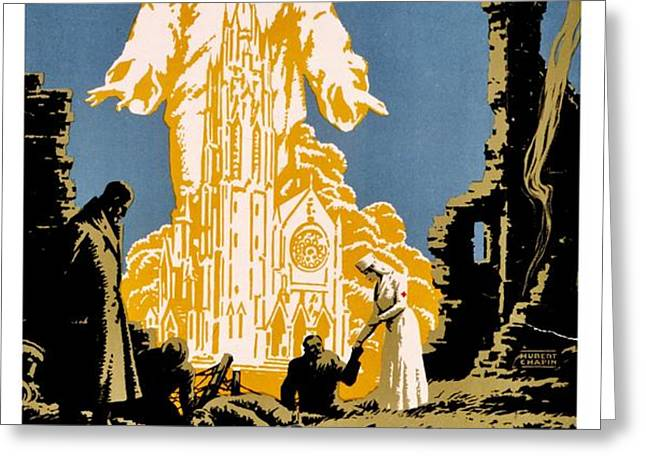 War Poster - WW1 - Christians Support Red Cross Greeting Card by Benjamin Yeager