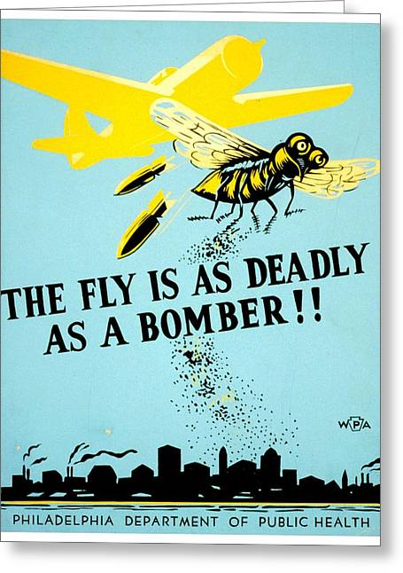 Public Health Greeting Cards - War Poster - WW2 - Beware The Fly Greeting Card by Benjamin Yeager
