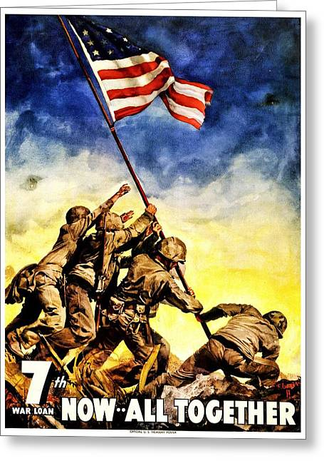 Recruit Greeting Cards - War Poster - WW2 - Iwo Jima Greeting Card by Benjamin Yeager