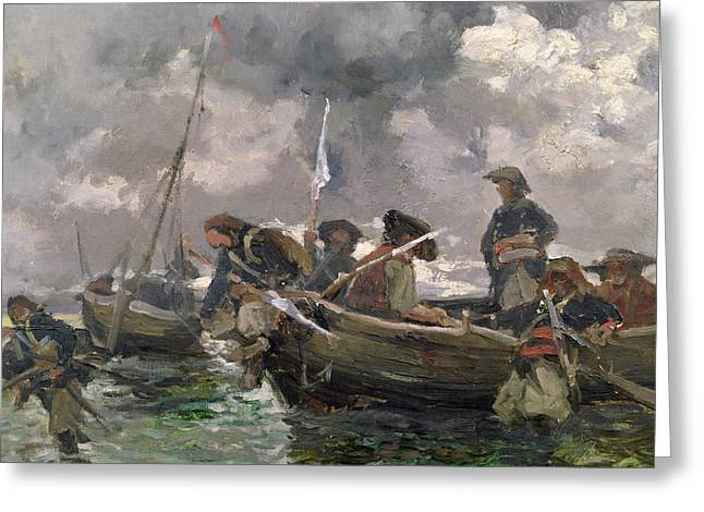 Landing Paintings Greeting Cards - War scene at sea Greeting Card by Paul Emile Boutigny