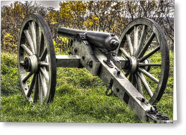 War Thunder - 1st New York Light Artillery Battery I East Cemetery Hill Mid-autumn Gettysburg Greeting Card by Michael Mazaika