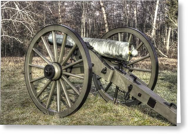 Brigade Greeting Cards - War Thunder - 1st New York Light Artillery-C1 Battery D The Wheatfield Late Winter Gettysburg Greeting Card by Michael Mazaika
