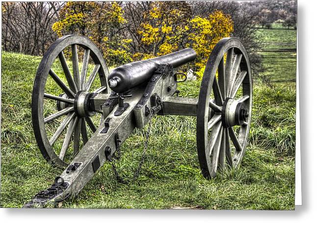 Philadelphia Brigade Greeting Cards - War Thunder - 1st PA Light Artillery Ricketts Batteries F and G East Cemetery Hill Gettysburg Greeting Card by Michael Mazaika