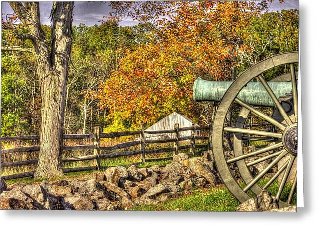 3rd Corps Greeting Cards - War Thunder - 3rd Massachusetts Light Artillery Battery C - J. Weikert Farm Autumn Gettysburg Greeting Card by Michael Mazaika