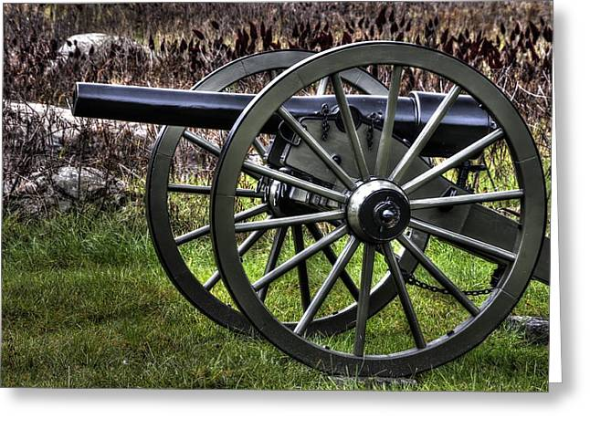 Devils Den Greeting Cards - War Thunder - 4th New York Independent Battery 2A - In the Slaughter Pen Near Devils Den Gettysburg Greeting Card by Michael Mazaika