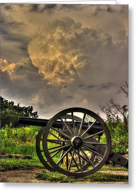 Devils Den Greeting Cards - War Thunder - The Clouds of War 2A - 4th New York Independent Battery Above Devils Den Gettysburg Greeting Card by Michael Mazaika