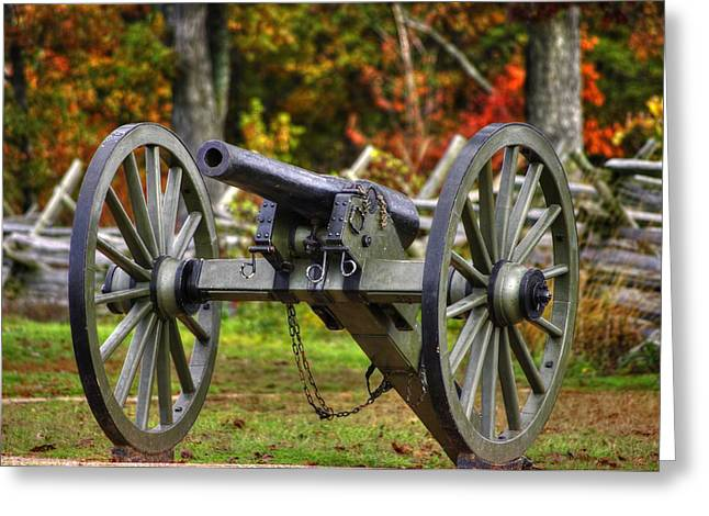 Civil Greeting Cards - War Thunder - The Orange Artillery Frys Battery - 1A Oak Hill Autumn Gettysburg Greeting Card by Michael Mazaika