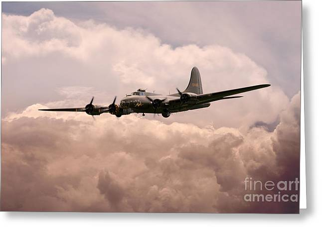 Usaac Greeting Cards - Warbirds - B17 Flying Fortress Greeting Card by J Biggadike